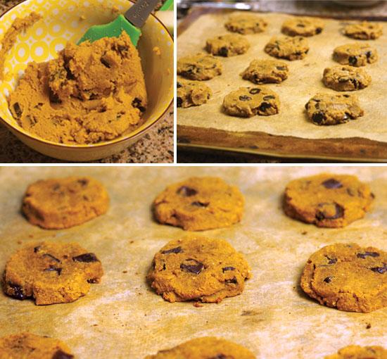 making pumpkin chocolate chip cookies