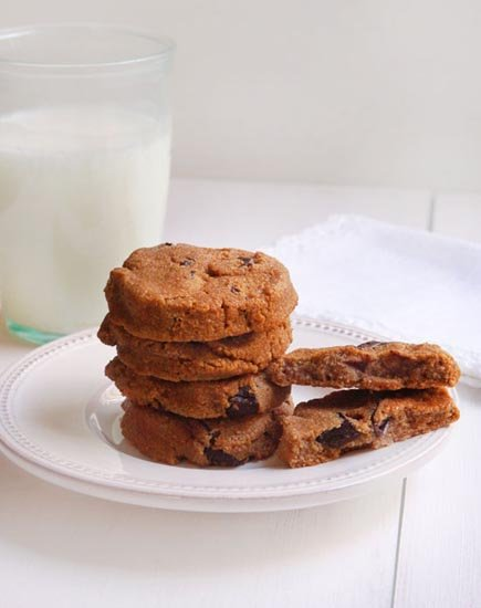 pumpkin chocolate chip cookies on a plate