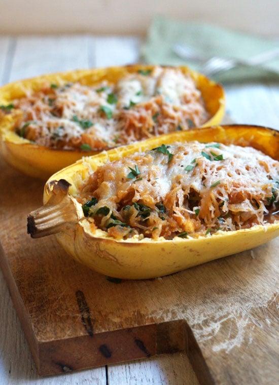 spaghetti squash enchilada boats