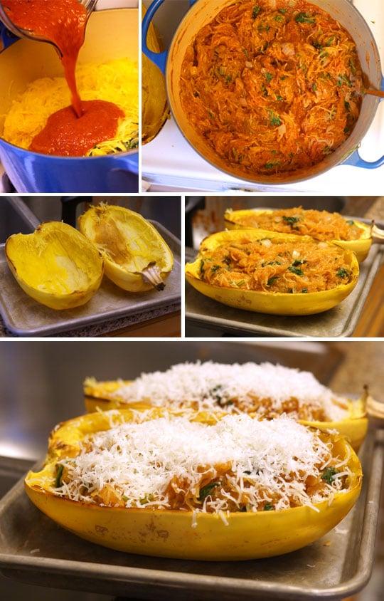 preparing spaghetti squash enchilada boats