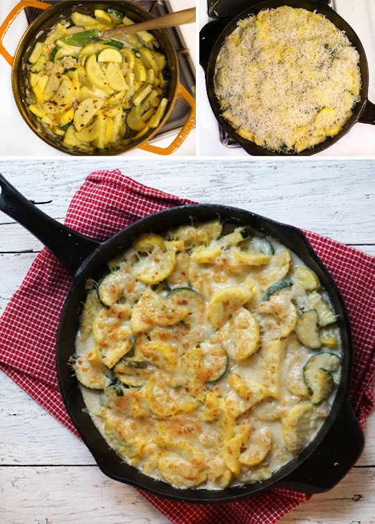 making cheesy squash casserole in a skillet