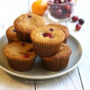 Plate of orange cranberry coconut flour muffins