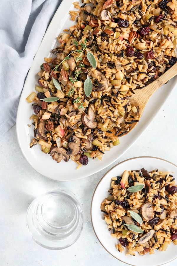 This vegan Wild Rice & Mushroom Stuffing is naturally gluten-free and one of my favorite Thanksgiving side dishes! #thanksgiving #glutenfree