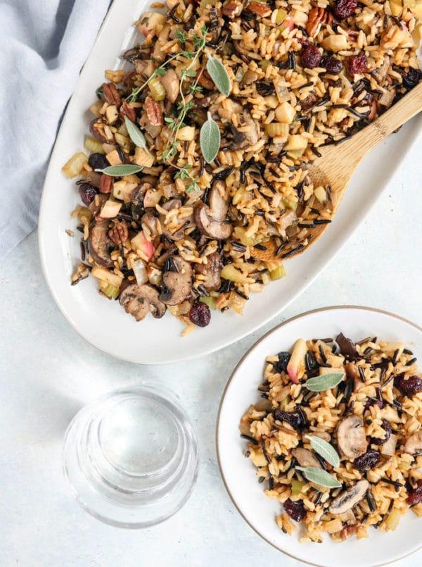 wild rice & mushroom stuffing closeup