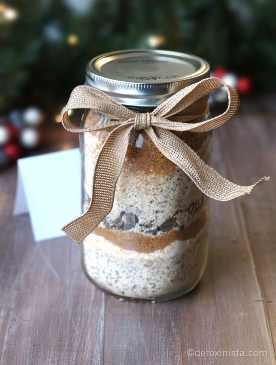 gluten-free cookie in a jar with a ribbon tied around it