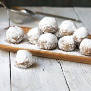 No bake pecan snowballs on wooden plate