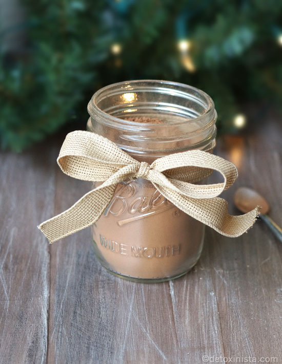 hot chocolate in a jar with a ribbon tied around it