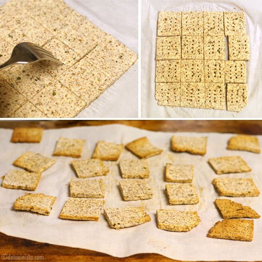 putting holes in almond pulp crackers with a fork