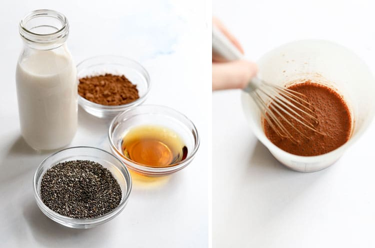 chocolate chia pudding ingredients being mixed
