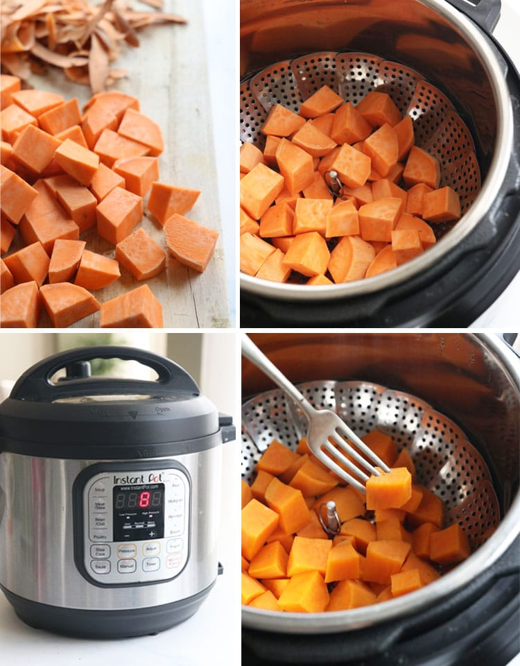 cubed sweet potatoes in Instant Pot