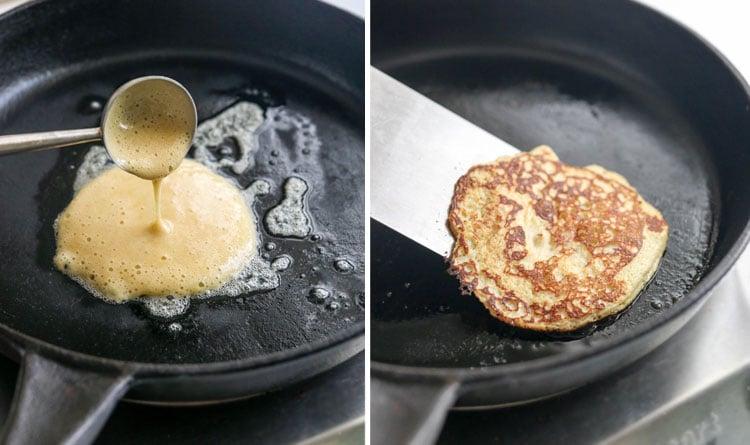 flipping banana pancakes