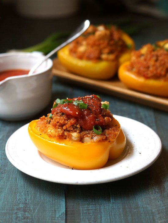 quinoa stuffed pepper on a plate