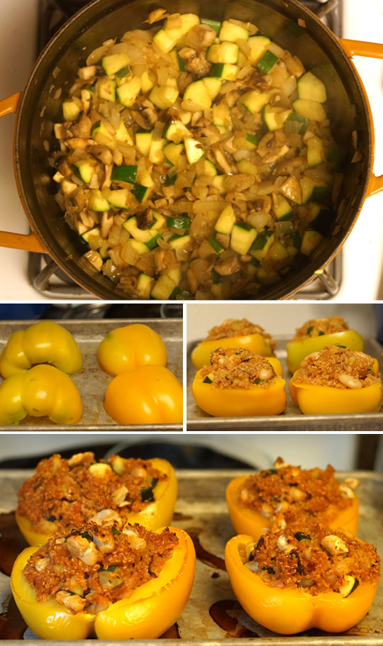 preparing quinoa stuffed peppers