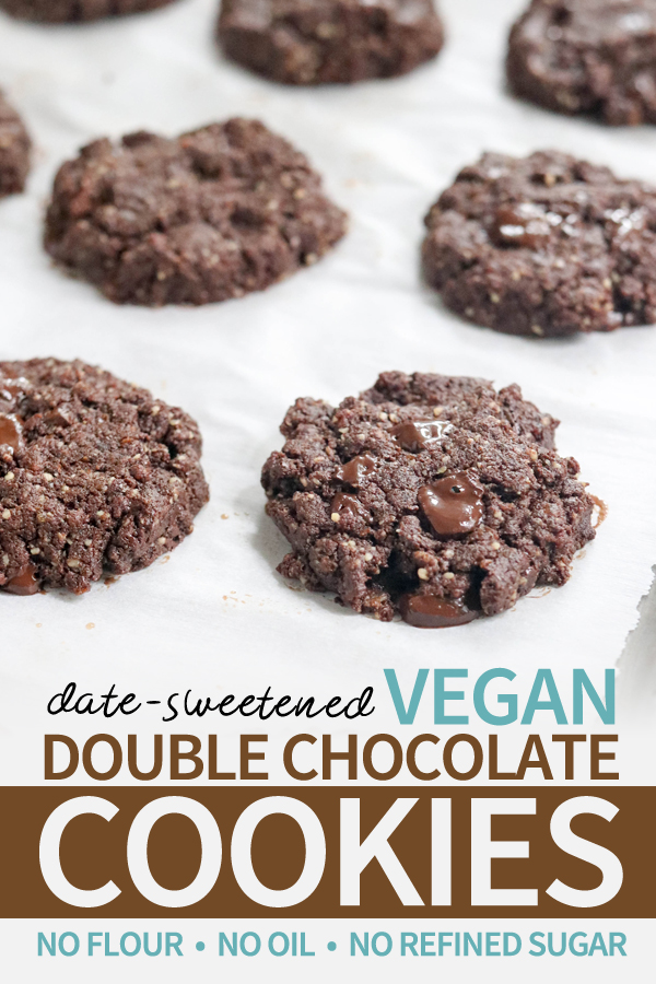 This vegan chocolate cookie recipe is made with 100% whole food ingredients-- no flour, no oil, and no refined sugar. Naturally sweetened with dates, these paleo-friendly cookies are as healthy as it gets! #paleo #vegan #flourless #cookies #healthy #recipe #datesweetened #chocolate #glutenfree #dairyfree #grainfree