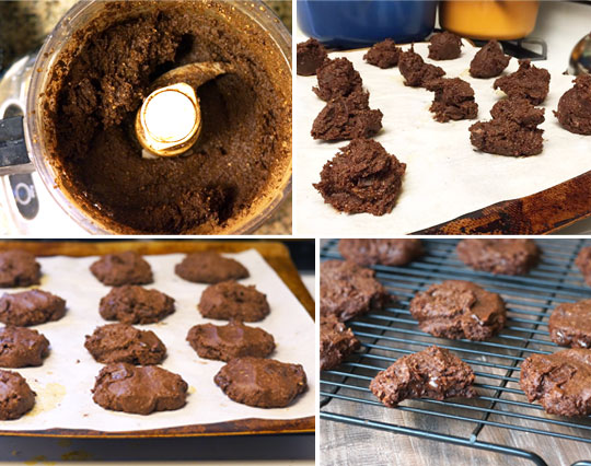 making double chocolate cookies in a food processor and scooping them onto a cookie sheet