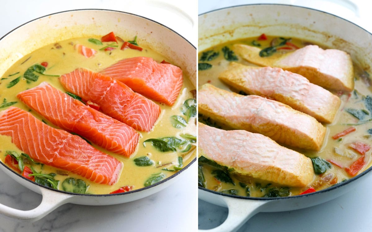 before and after of cooked salmon filets in pan