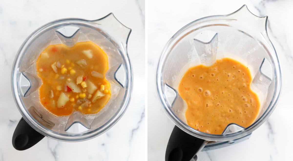 corn chowder in blender to thicken
