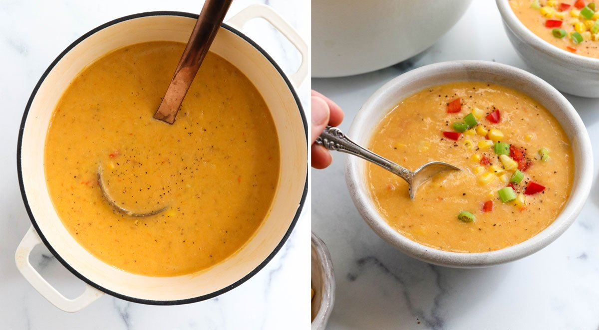 blended soup in pot and served in bowl