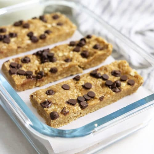 homemade granola bars with chocolate chips on top