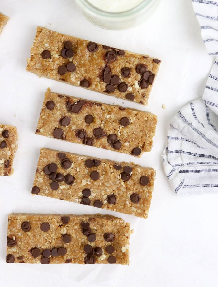 granola bars cut and on white