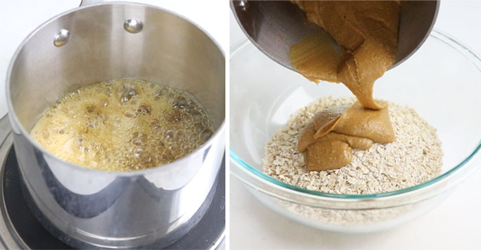 boiling honey and mixing it with oats for granola bars