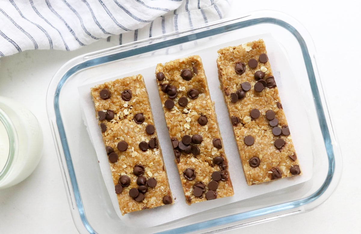 granola bars in glass container