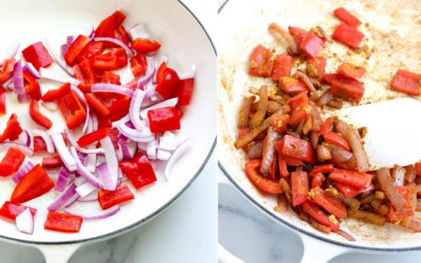 sauteed peppers, onions and curry powder