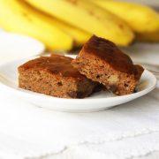 squares of paleo banana snack cake