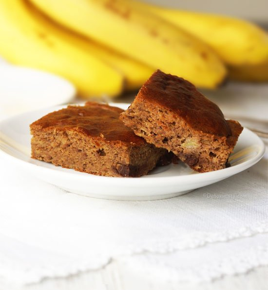 two pieces of paleo banana snack cake on a plate