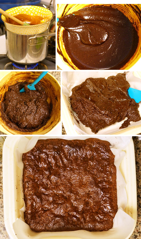preparing brownie mix