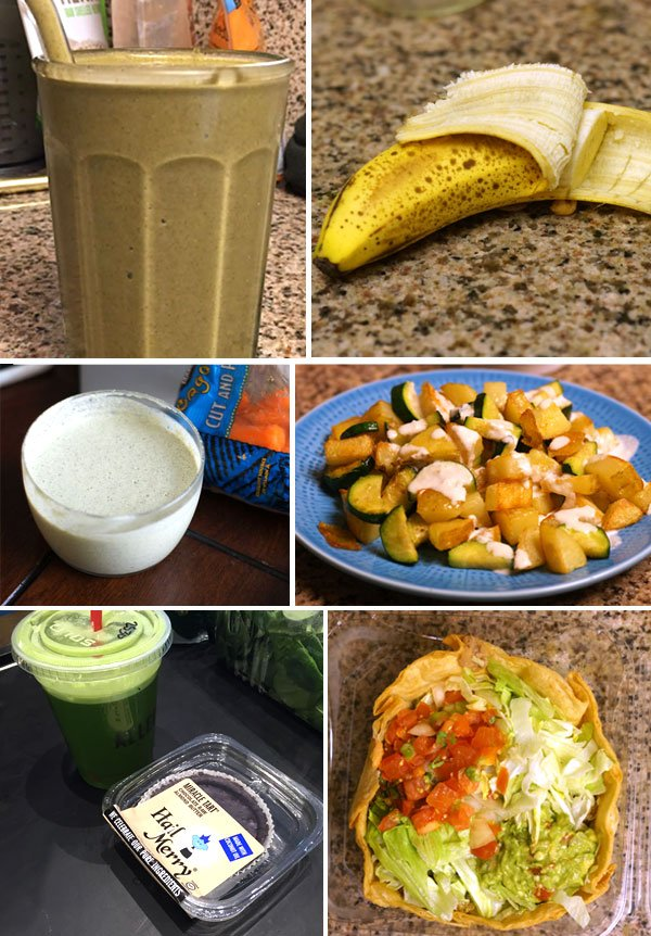 green shake, peeled banana, creamy tahini dressing, and taco bowl