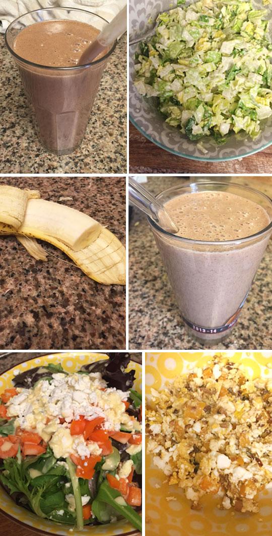 two chocolate shakes, banana, and salads on plates