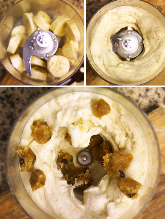 preparing ice cream in a food processor