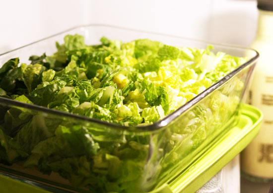 lettuce in a glass container