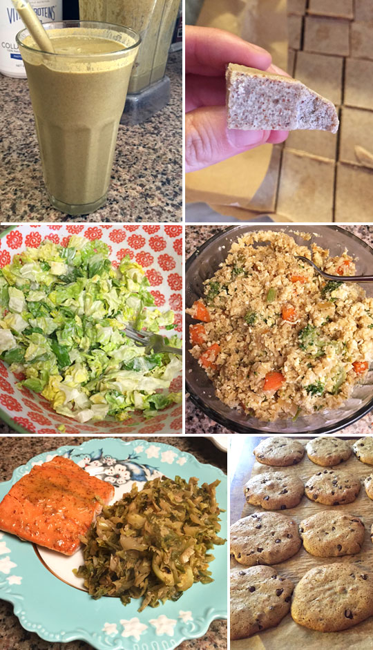 smoothie, almond butter fudge, salad in a bowl, cauliflower fried rice, maple glazed salmon, and cashew butter cookies