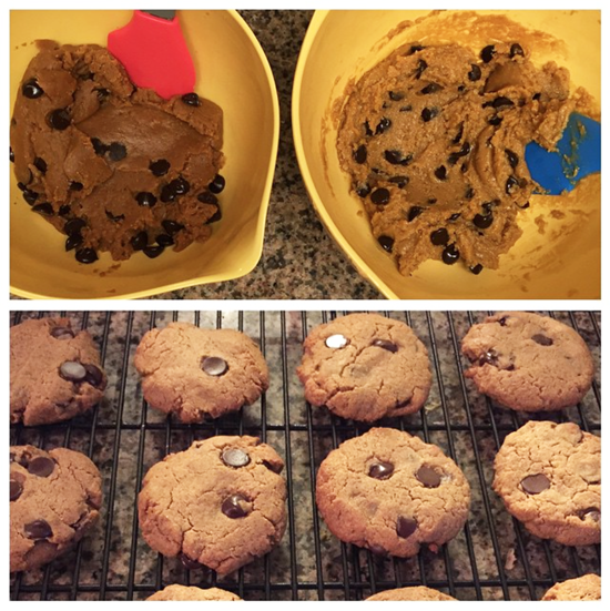 cashew butter cookie dough mixed in a bowl and baked cookies on a cooling rack
