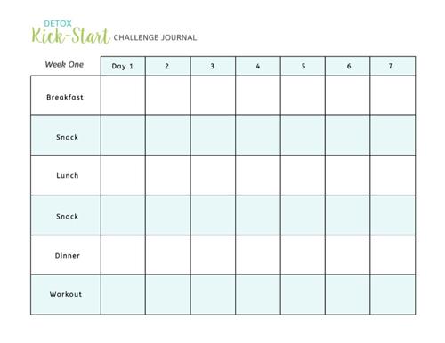 detox kick-start challenge journal