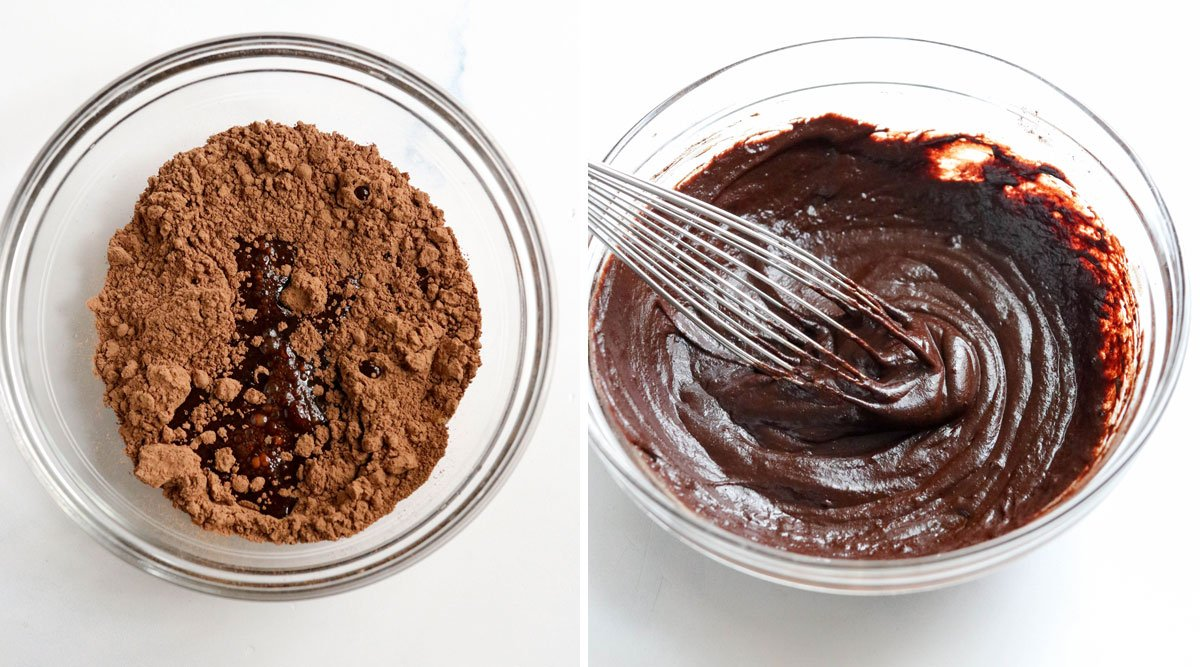 Mixed chocolate layer in bowl