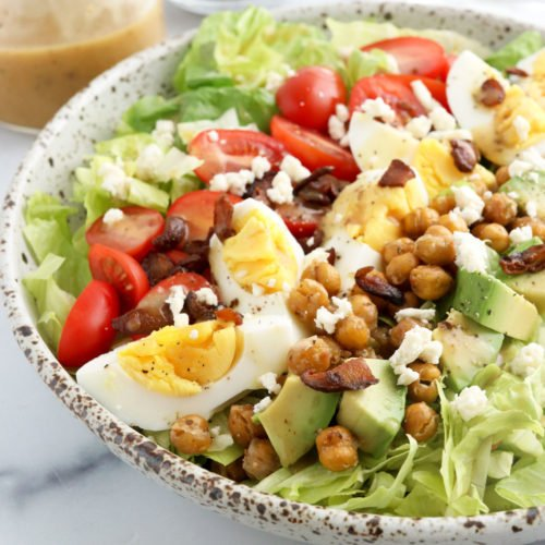 vegetarian cobb salad with chickpeas on top