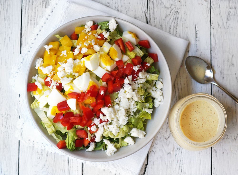 vegetarian cobb salad on a plate