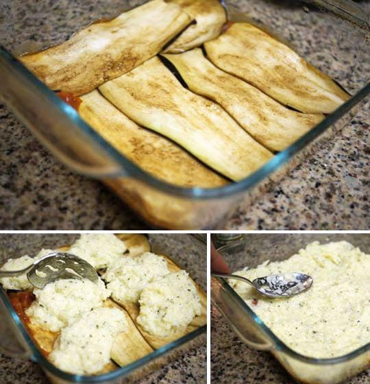 preparing eggplant lasagna
