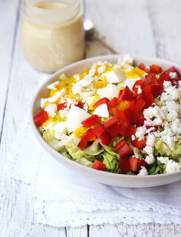 vegetarian cobb salad with honey dijon dressing