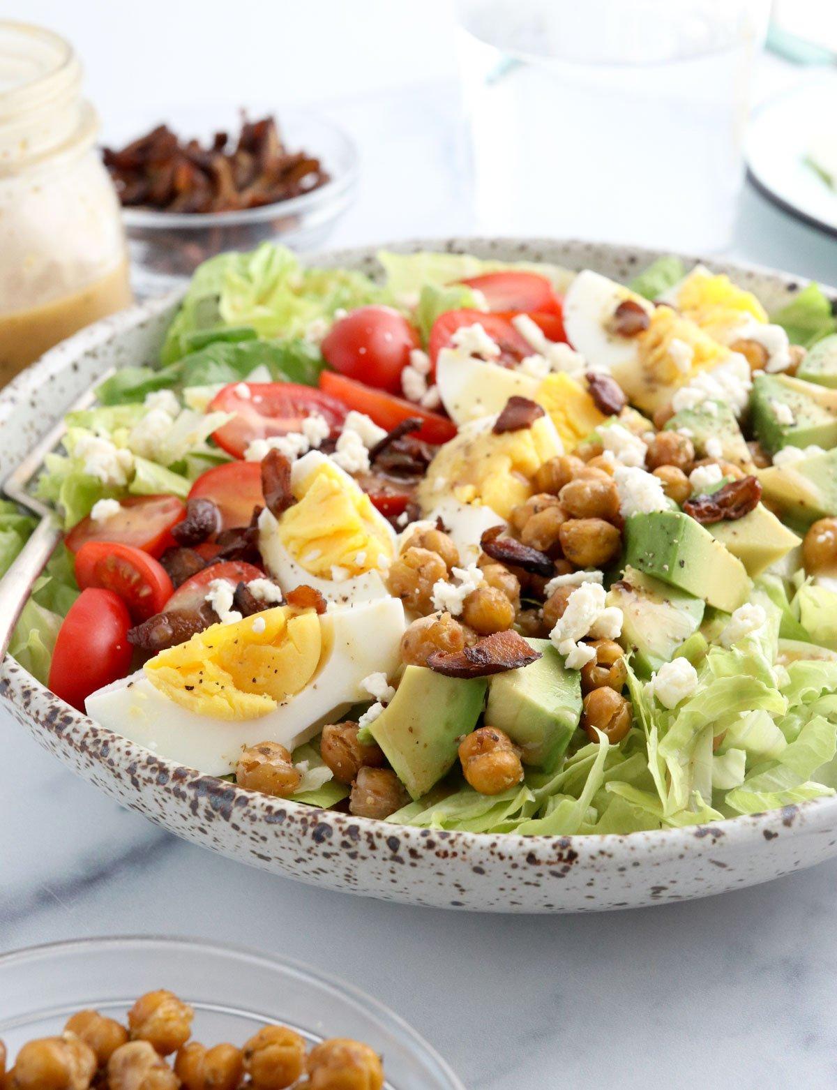 vegetarian cobb salad at an angle in bowl