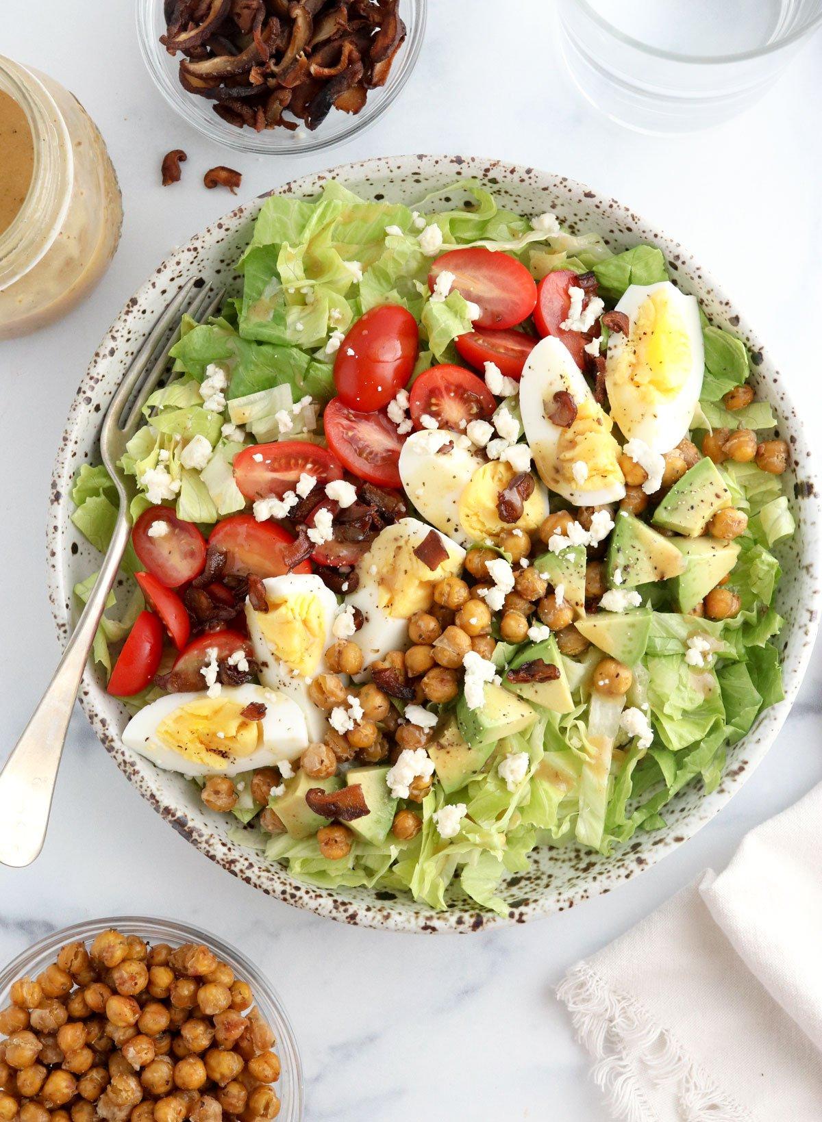 vegetarian cobb salad overhead in large bowl