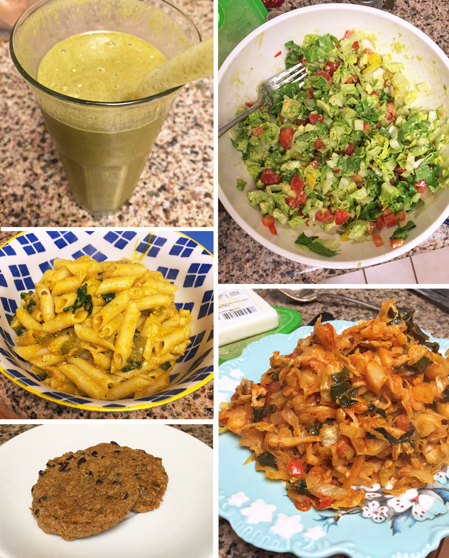 green smoothie, salad in a bowl, penne oasta in a bowl, and cashew butter cookie