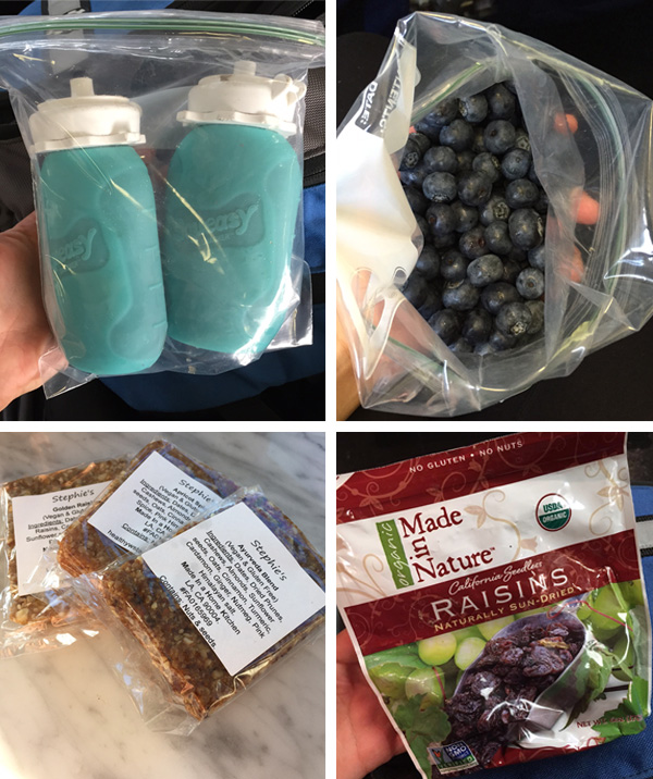 travel snack ideas including smoothies, blueberries, and raisins