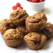 Peanut butter and Jelly Muffins stacked on plate