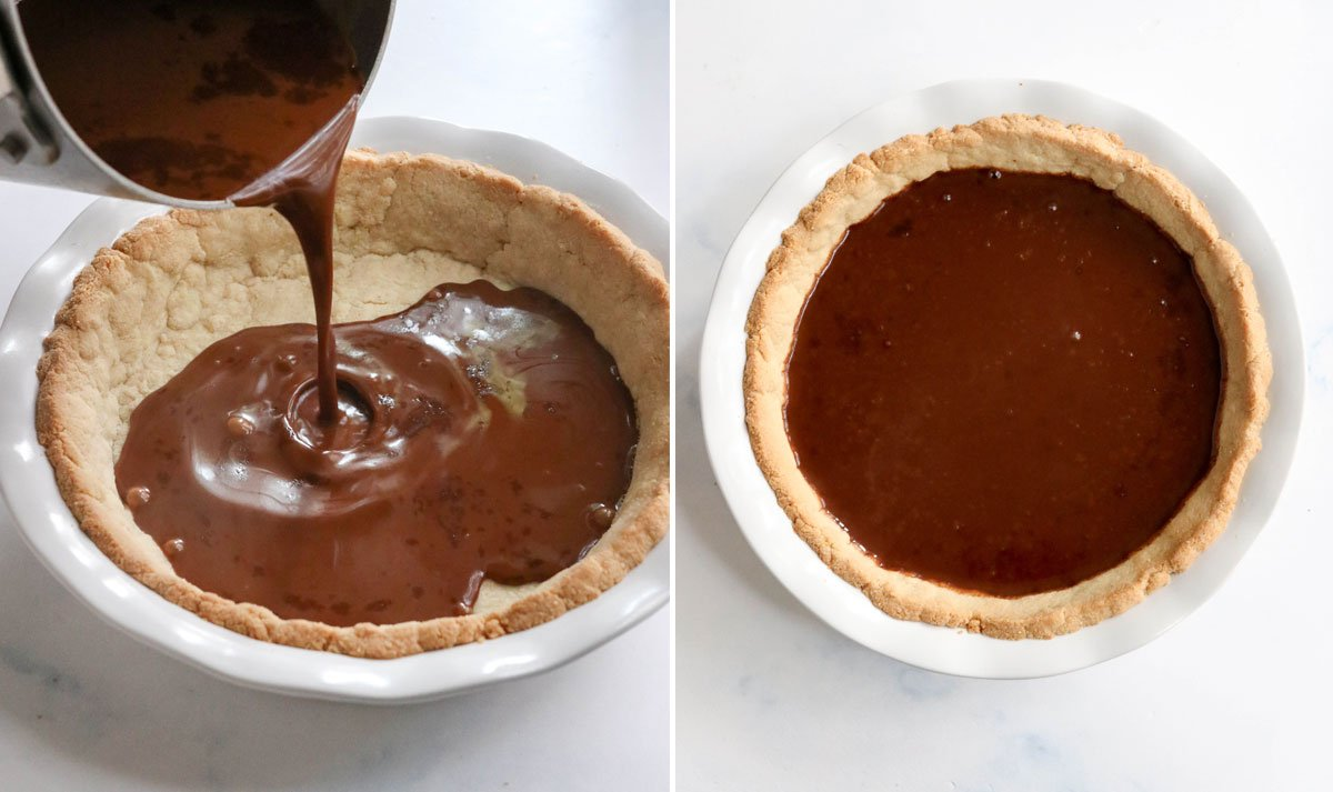 french silk pie filling poured into crust