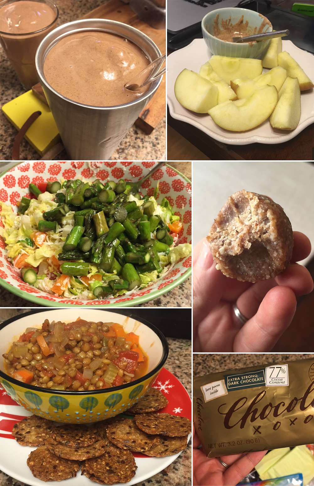 chocolate smoothie, apple slices and almond butter, salad in a bowl with asparagus on top, date energy ball with a bite taken out of it, lentil chili, and a bar of dark chocolate