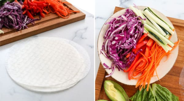 spring roll wrappers and sliced veggies ready to wrap